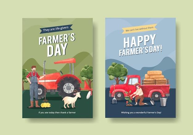 全国農民の日コンセプト、水彩スタイルのポスターテンプレート
