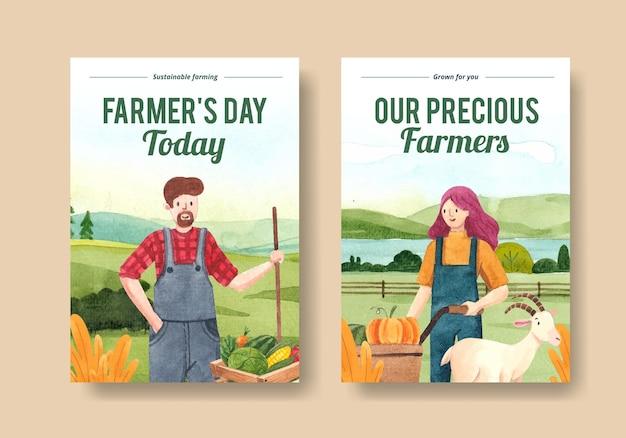 국가 농민의 날 개념, 수채화 스타일 포스터 템플릿