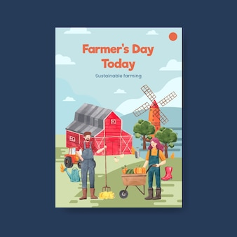 Poster template with national farmers day concept,watercolor style