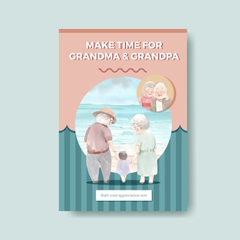 Poster template with national grandparents day concept design for advertise and brochure watercolor vector.