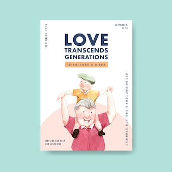Poster template with national grandparents day concept design for advertise and brochure watercolor.