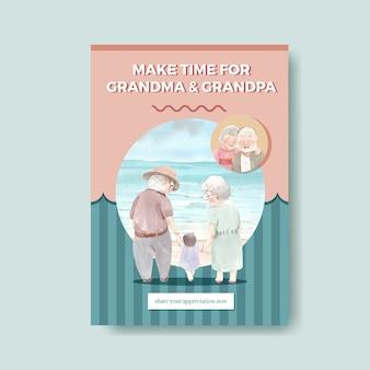 Шаблон плаката с национальным днем бабушек и дедушек дизайн концепции для рекламы и брошюры акварель вектор.