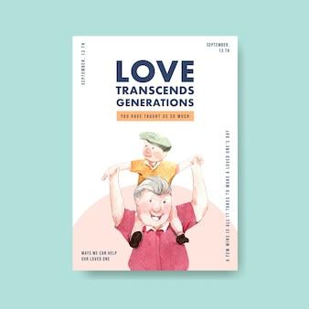 Шаблон плаката с национальным днем бабушки и дедушки концептуального дизайна для рекламы и брошюры акварели.