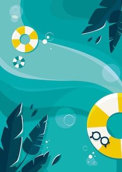 바다와 야자수 잎 포스터 템플릿입니다. 평면 디자인의 여름 개념입니다.