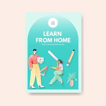 広告とパンフレットの水彩イラストのためのオンライン学習コンセプトデザインのポスターテンプレート