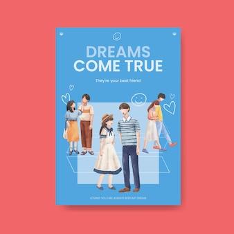 水彩イラストを宣伝し、マーケティングするための楽園の愛のコンセプトデザインのポスターテンプレート