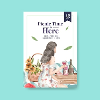Poster template with picnic travel concept