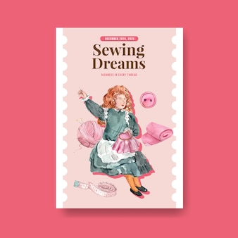 Poster template with sewing concept design   watercolor   illustration.