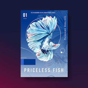 Poster template with siames fighting fish