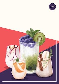 水彩イラストを宣伝するためのソーダ飲料デザインのポスターテンプレート