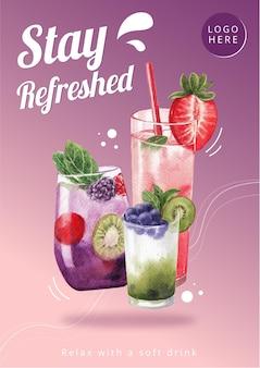 Шаблон плаката с дизайном газированного напитка для баннера акварель иллюстрации