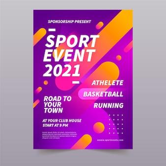 Modello di poster con evento sportivo