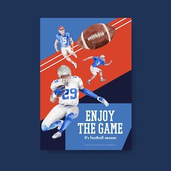 Modello di poster con super bowl sport concept design per brochure e pubblicizzare illustrazione vettoriale acquerello.