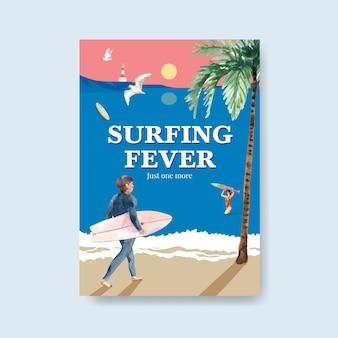 Шаблон плаката с досками для серфинга на пляже