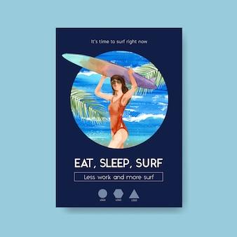 Modello di poster con tavole da surf in spiaggia