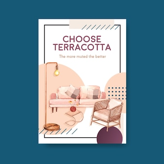 Poster template with terracotta decor