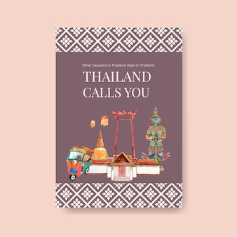Poster template with thailand travel for marketing in watercolor style