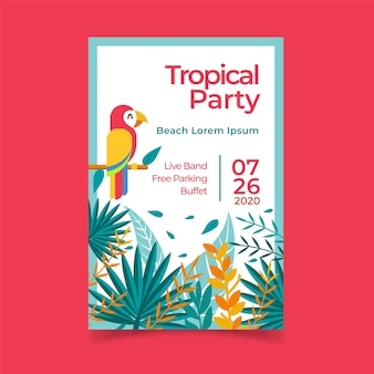 Poster template with tropical party concept