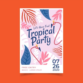 Poster template with tropical party design