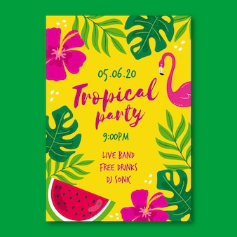 Poster template with tropical party theme