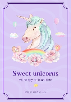 Poster template with unicorn in watercolor style