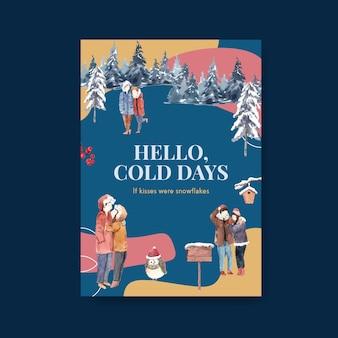 Modello di poster con concept design di amore invernale per annunci e illustrazione vettoriale acquerello di marketing