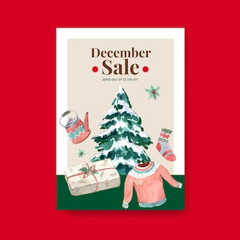 Poster template with winter sale for advertise in watercolor style