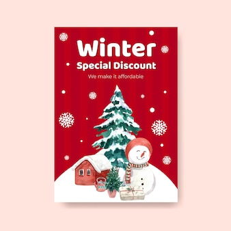 Шаблон плаката с зимней распродажей для маркетинга в акварельном стиле