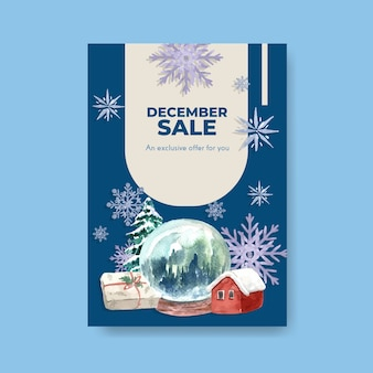 Poster template with winter sale for marketing in watercolor style