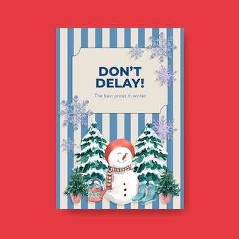 Modello di poster con saldi invernali per il marketing in stile acquerello