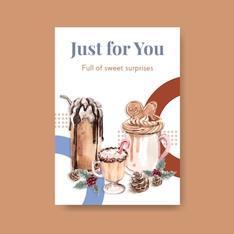 Шаблон плаката с зимними сладостями в акварельном стиле