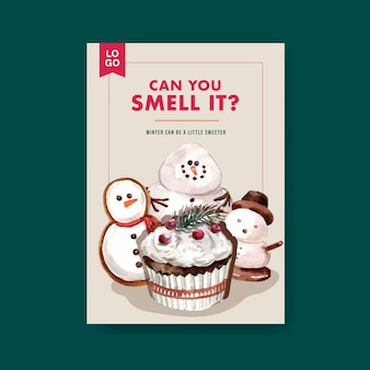 Poster template with winter sweets in watercolor style