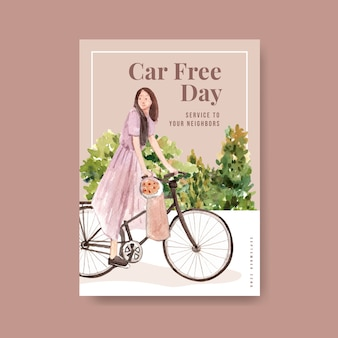 Poster template with world car free day concept design for brochure and leaflet watercolor.