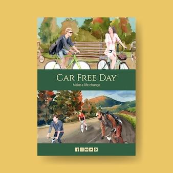 Шаблон плаката с концептуальным дизайном всемирного дня без автомобиля для акварельной брошюры и листовки.