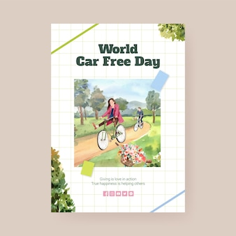 Poster template with world car free day concept design