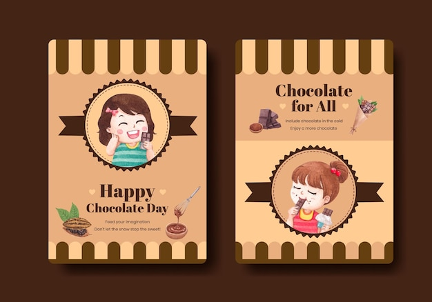 Poster template with world chocolate day concept