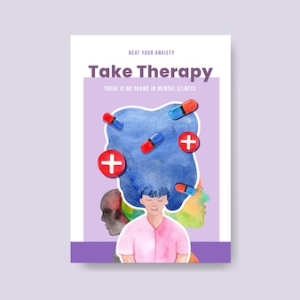 Modello di poster con concept design della giornata mondiale della salute mentale per brochure e opuscolo illustrativo di vettore dell'acquerello.