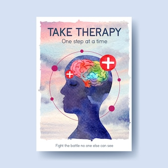 Poster template with world mental health day concept design for brochure and leaflet watercolor vector illustraion.