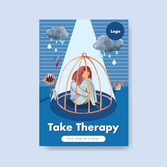 パンフレットやチラシの水彩ベクトルイラストの世界の精神的な健康の日のコンセプトデザインのポスターテンプレート。