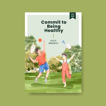 세계 정신 건강의 날 컨셉 디자인 포스터 템플릿