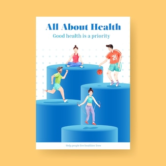 世界メンタルヘルスの日のコンセプトデザインのポスターテンプレート
