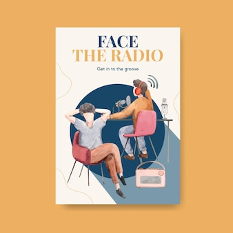 広告とビジネスの水彩イラストのための世界のラジオの日のコンセプトデザインのポスターテンプレート