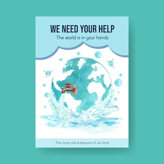Poster template with world water day concept design for advertise and marketing watercolor illustration