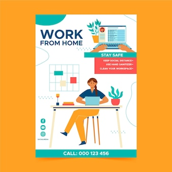 Poster template for working at home
