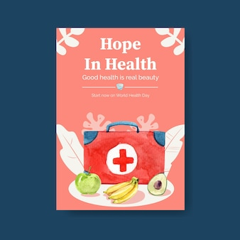 Poster template for world health day concept design for brochure watercolor illustration