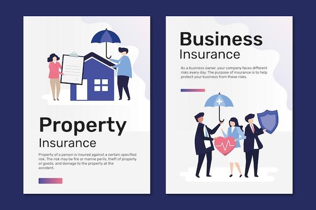 Modelli di poster per assicurazioni immobiliari e aziendali