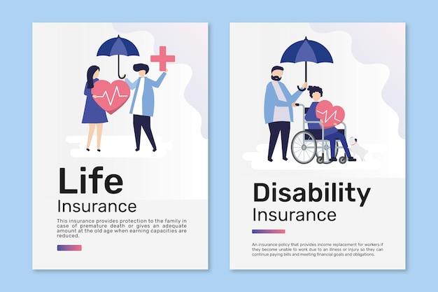 Vettore di modelli di poster per l'assicurazione sulla vita e sulla disabilità