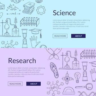 Poster templates with hand drawn science elements
