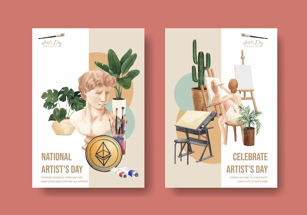 Poster templates with international artists day in watercolor style