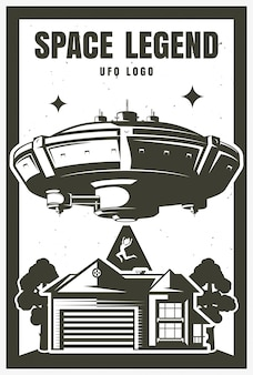 Poster ufo object, kidnapping. illustration. print on t-shirt